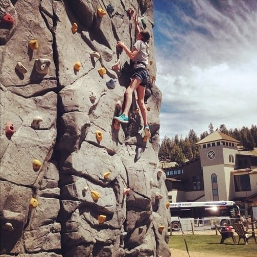 Things to do in Mammoth Summer include climbing the rock wall at the Mammoth Mountain Adventure Center