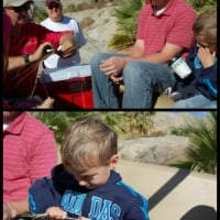 Teaching the kids how to make a palm frond rope