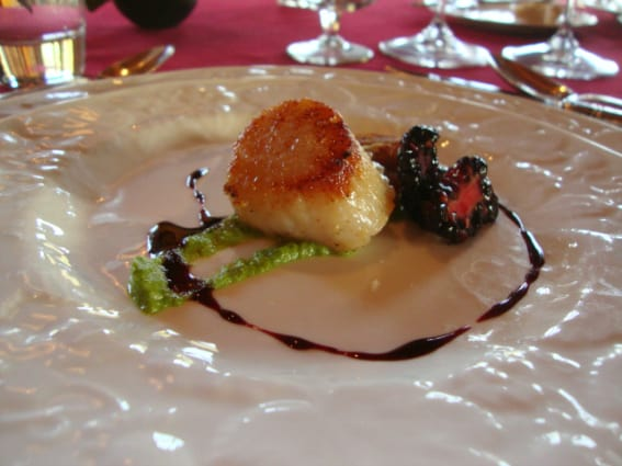 Chef Clyde Nelson appetizer served at the food and wine paired dinner at The Home Ranch in Clark, Colorado