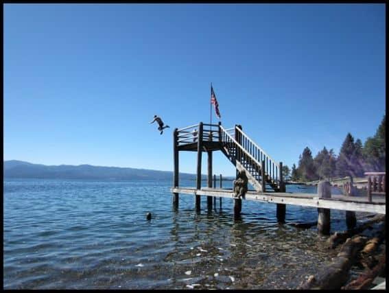 Dock jumping Flathead Lake Lodge