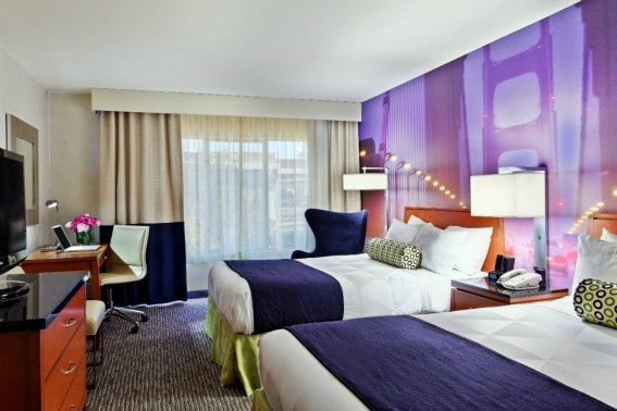 Renovated room with double bed at Radisson Hotel Fisherman's Wharf