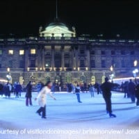 Skating on the ice rink in the courtyard of Somerset House
