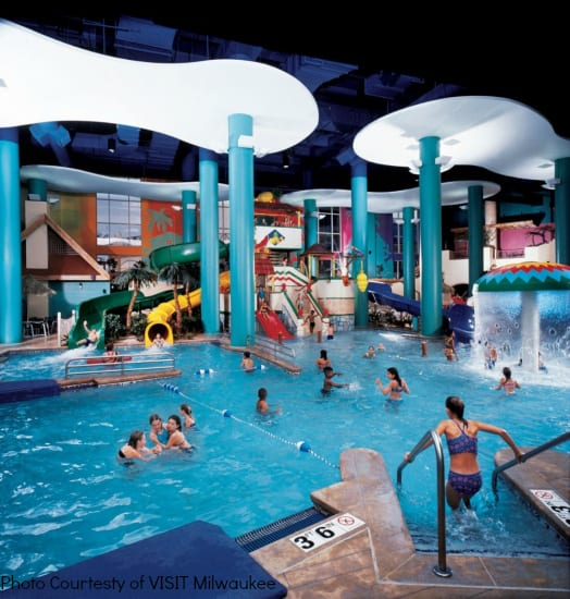 Visiting Milwaukee with kids Hilton Milwaukee City Center Paradise Landing