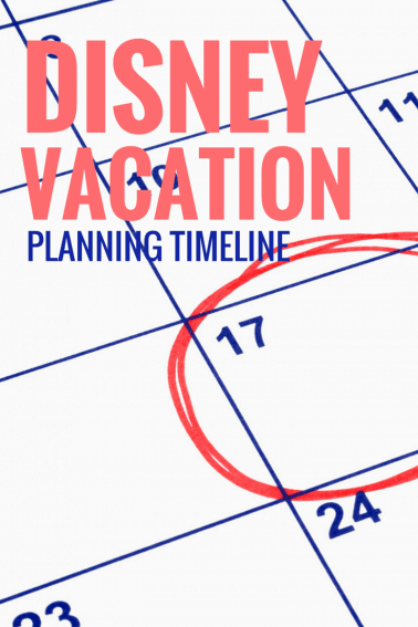 Disney World Vacation Planning timeline