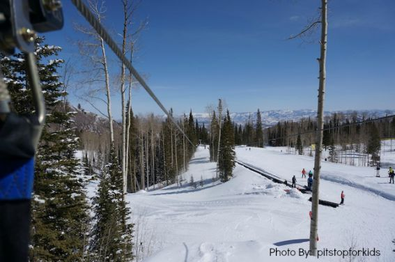 Kid-friendly snow zip line The Canyons Park City, Utah