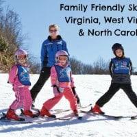 family friendly skiing Virginia, West Virginia, North Caroina