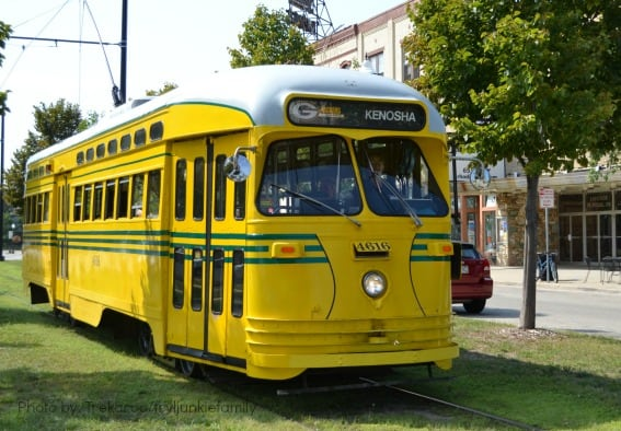Downtown Kenosha WIsconsin Vintage Streetcar Kids Trains