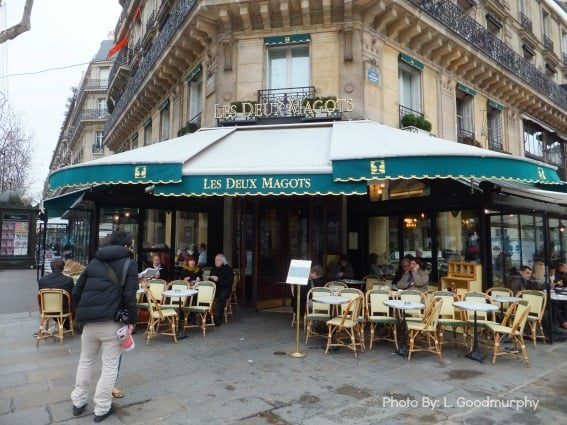 Paris with kids itinerary includes eating at Cafe Deux Magots
