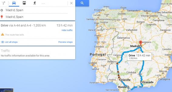 Spain Road Trip map