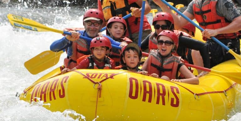American River raft trip with kids