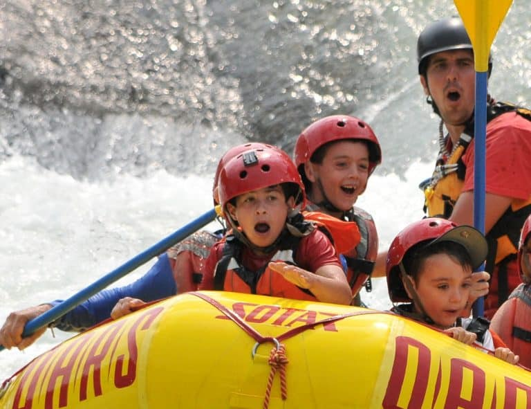 American River rafting with kids