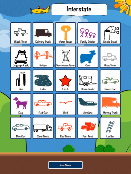Travel Bingo kids apps