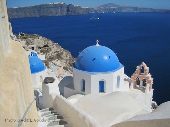 Greece Santorini Oia blue-domed churches