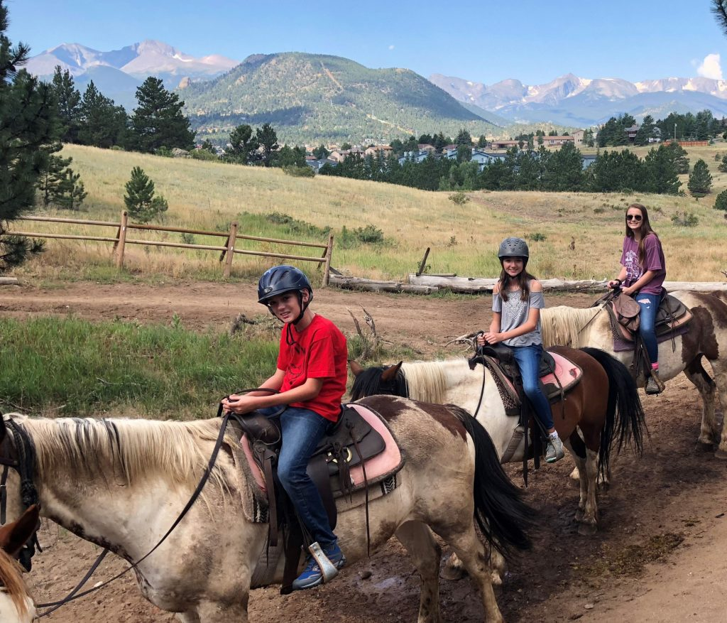 Horseback riding is one of the fun things to do in Rocky Mountain National Park with kids