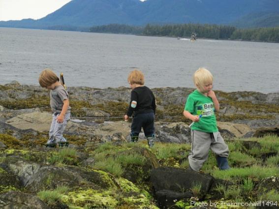 kids beach combing Alaska