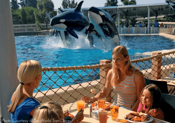 Family Dining next to Shamu -Courtesy SeaWorld