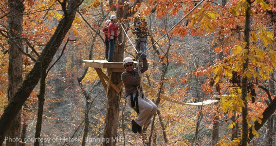 best places to view fall colors in Georgia zip line