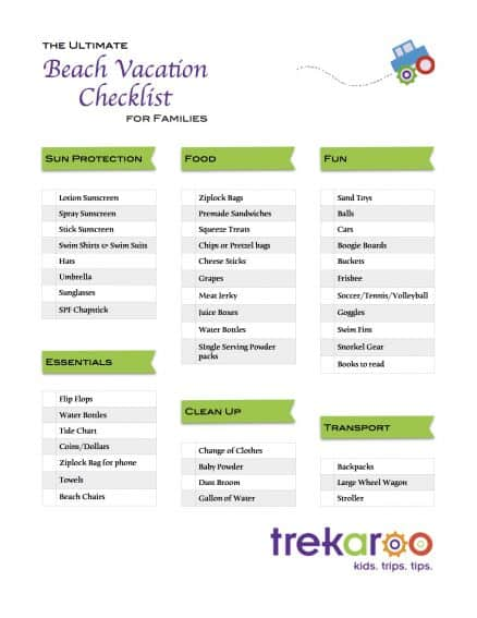 ultimate beach vacation checklist for families trekaroo blog
