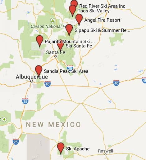 Map of New Mexico's Ski Resorts