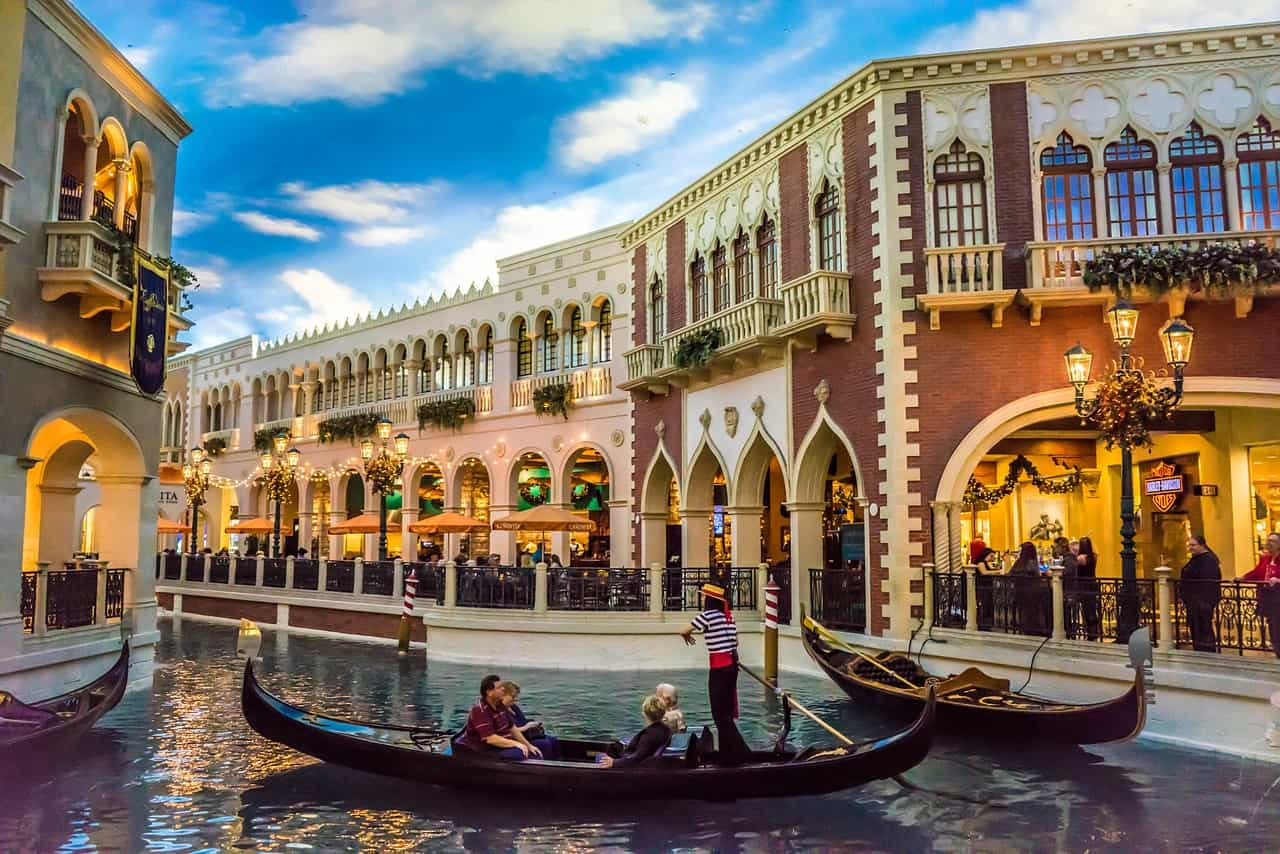 Riding the venetian hotel gondolas is one of my favorite things to do in Las Vegas with kids