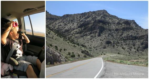 Road Trip Highway 50 Nevada Utah Kid in Car Camera Binoculars
