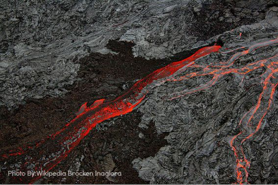 lava flowing at the Big Island of Hawaii
