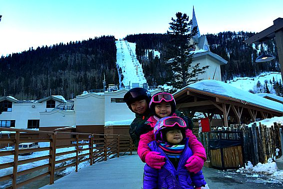 Beginner Skier with Kids at Taos Ski Valley Al's Run