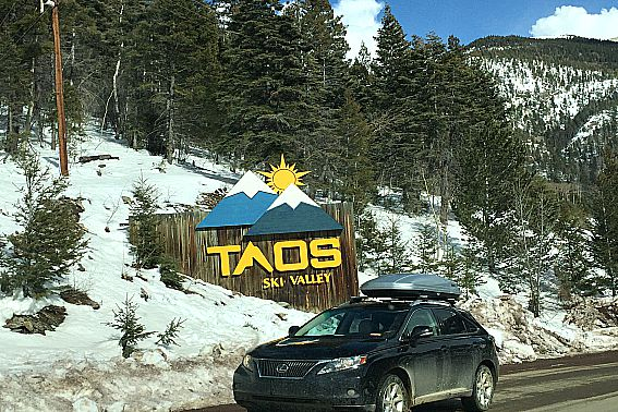 Beginner Skier at Taos Ski Valley Entrance