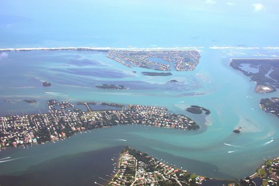 Aerial view of St Lucie inlet, Sewalls Point, Sailfish Point Courtesy of Martin County Florida