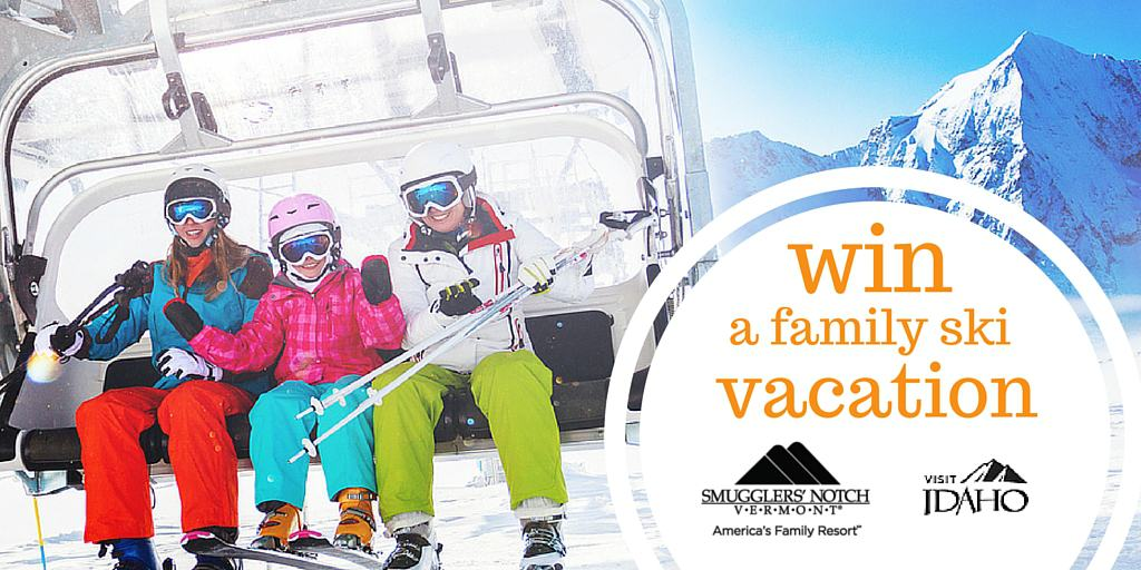 win a family ski vacation twitter post