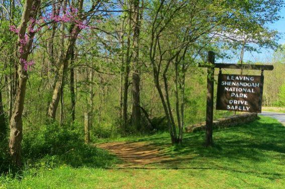 Leaving Shenandoah National Park Sign North Entrance Front Royal Spring