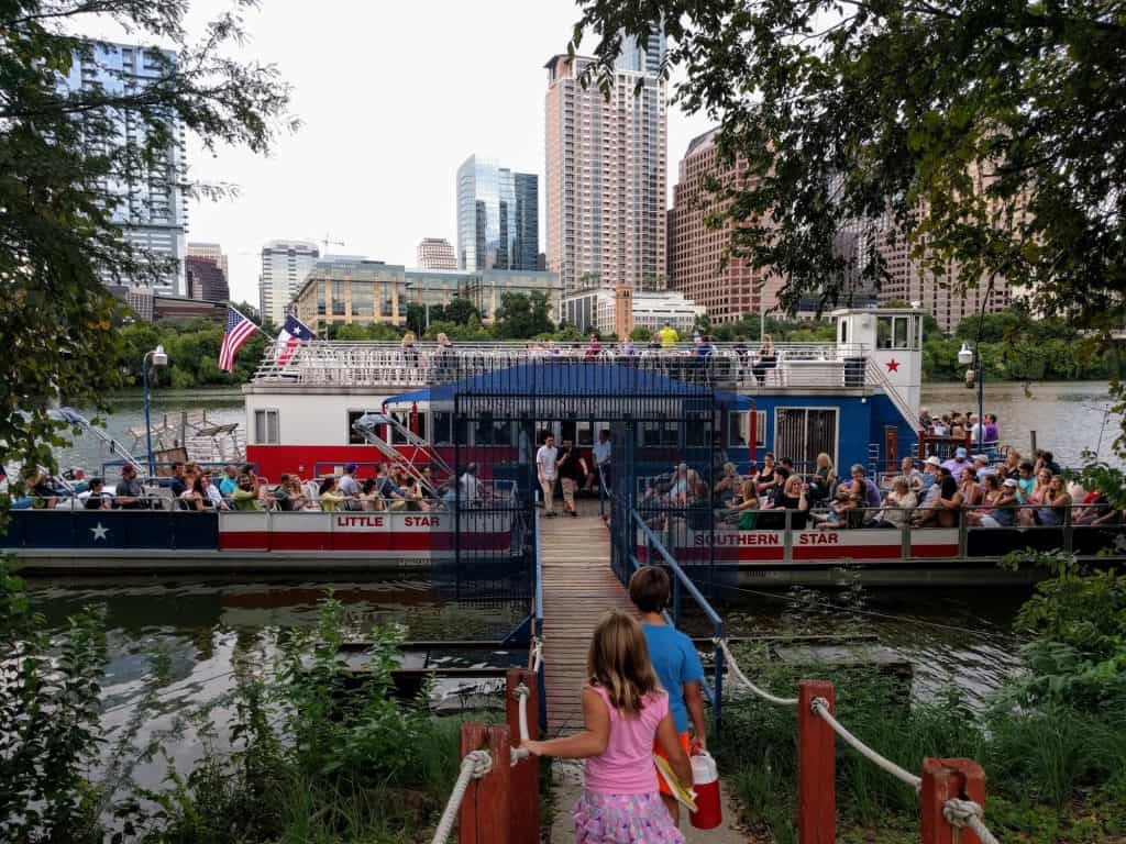 Austin Bat Cruise on Lady Bird Lake is one of the fun things to do in Austin with kids