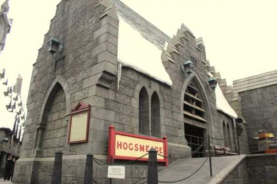 Hogsmeade Station greets guests as they enter the Wizarding World of Harry Potter at Universal Studios Hollywood. Lots of fun props allow guests to immerse themself in the film while taking pictures.