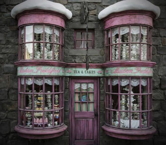 Madam Puddifoots adorable tea and cakes shop inside the Wizarding World of Harry Potter at Universal Studios Hollywood