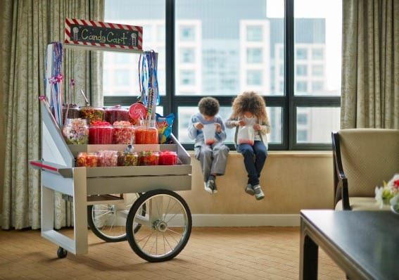 Ritz Carlton Chicago, known for their Ritz Kids program, offers a candy cart. The RITZ CARLTON CHICAGO is a great place to stay while exploring family-friendly art museums