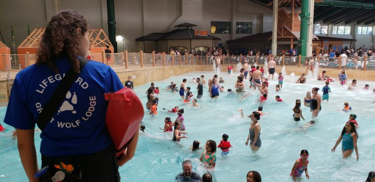 lifeguards at Great Wolf Lodge keep a constant eye on the swimmers