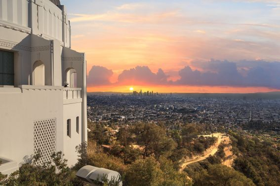The Los Angeles skyline is a beauty to behold from the vantage point of the Griffith Observatory, the uber family-friendly astronomy museum with hands-on activities for kids