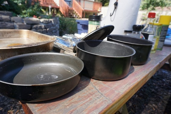 Nesting pots and pans for camping