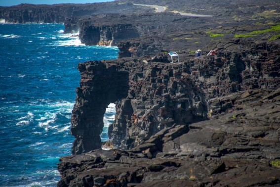 Holei Sea Arch at the coast in Hawaii Volcanoes National Park