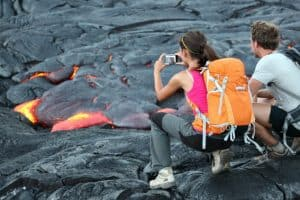 see the lava by hiking to it