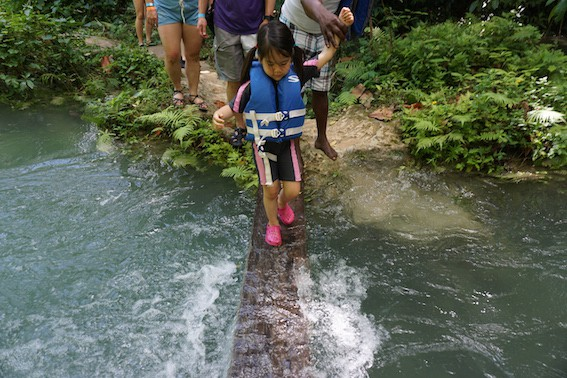 Family vacation to Jamaica - Climbing waterfalls