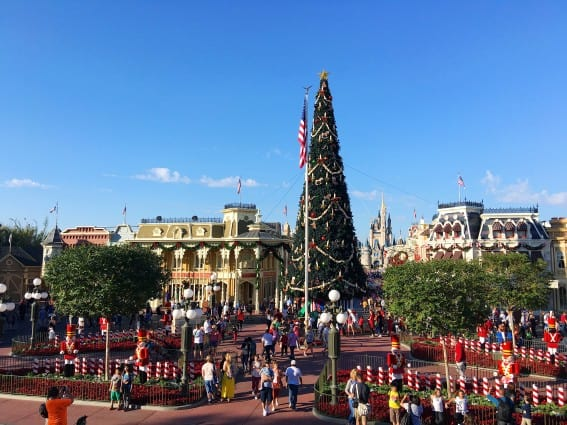 Holidays at Walt Disney World: Main Street, USA in Magic Kingdom is decked out for Christmas