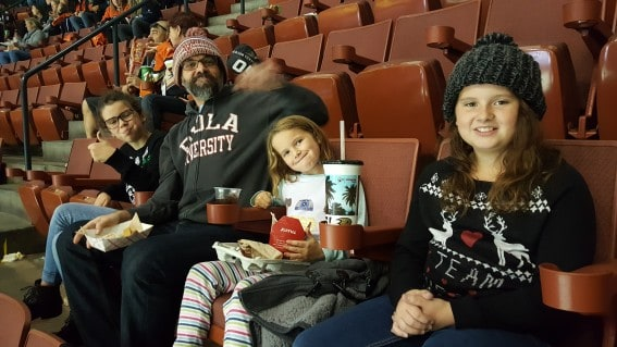 Enjoying an NHL hockey game with the family