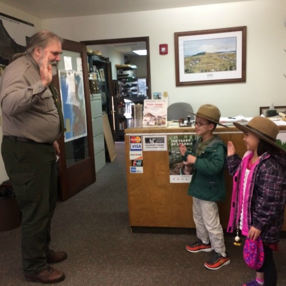 Getting sworn in at the Junior Ranger station on San Juan Island