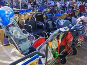 strollers parked in the Magic Kingdom
