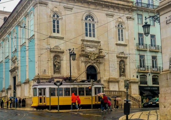 Classic Lisbon trams line the streets