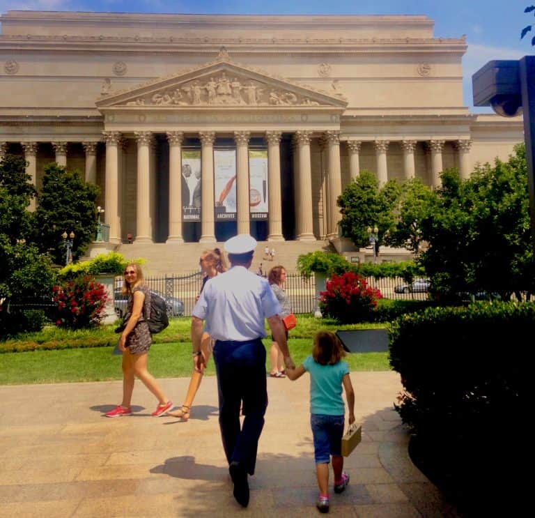 National Archives in Washington DC with kids