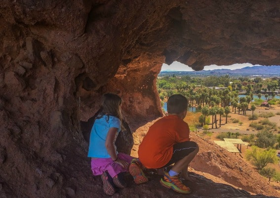 Looking out over Phoenix, kids are ready to explore the southwest