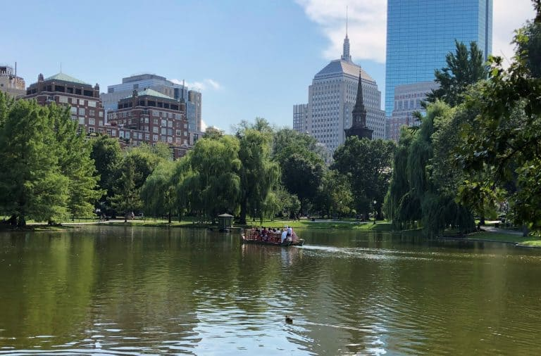 Things to do in Boston with kids include taking a swan boat ride in the Public Garden