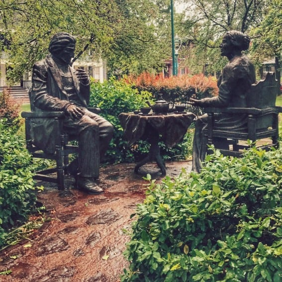 Let's Have Tea Sculpture with Susan B Anthony and Frederick Douglas